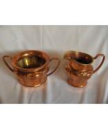 Vintage Solid Copper Open Sugar & Creamer With Brass Trim - $64.35