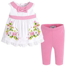 Mayoral Baby Girl 3M-24M Pink/White/Green Stripes-n-Floral Top/Legging Set image 1