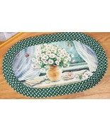 """Oval Braided Kitchen Accent Rug (20""""x30"""") DAISIES FLOWERS IN VASE & BUTTERFLIES - $17.81"""