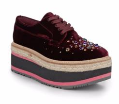 Prada Studded Velvet Bordeaux Platform Espadrilles Sneaker Creeper 9.5US... - $444.61