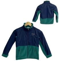 Columbia Blue Green Overlay fleece Jacket Boy's Small (H-1D) - $28.71