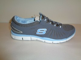 Skechers Size 9 IN MOTION Charcoal Light Blue Slip On Sneakers New Womens Shoes - $60.28