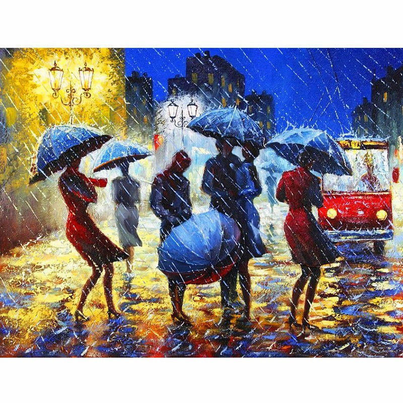"Rainy Street 16X20"" Paint By Number Kit DIY Acrylic Painting on Canvas Frameless"