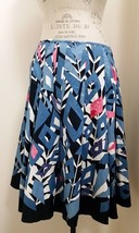 NWT Tahari Cotton Skirt Blue Dark Pink White Abstract Print Size 8 - $38.61