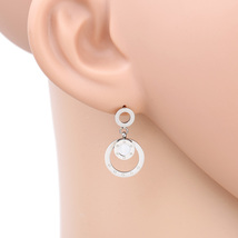UE- Silver Tone Designer Circular Drop Earrings With Faux Mother of Pear... - $17.99
