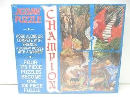 VTG 1990 Champion Puzzle Fantasy Dragon Battle Witch Craft Laura Urquhar... - $37.61