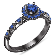 925 Sterling Silver Black Gold Plated Round Cut Blue Sapphire Engagement... - $85.99
