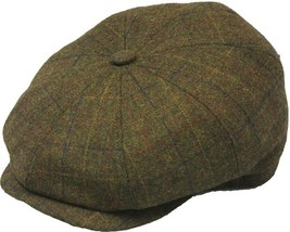 Henschel Wool 8/4 Newsboy Cap Cotton Lining Closed Back Brown Plaid Oliv... - £38.17 GBP