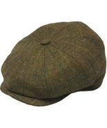 Henschel Wool 8/4 Newsboy Cap Cotton Lining Closed Back Brown Plaid Oliv... - $50.00