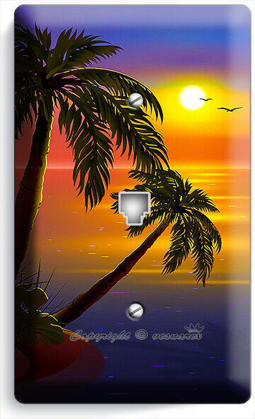 ROMANTIC SUNSET TROPICAL ISLAND PALMS PHONE TELEPHONE COVER WALL PLATES ROOM ART