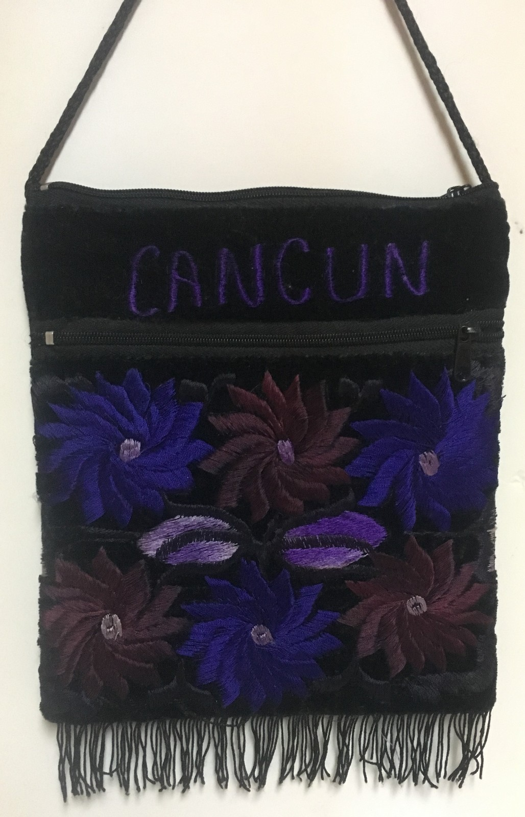 CANCUN Embroidered Velveteen Cross Body Purse Pouch Rope Strap Blue Floral