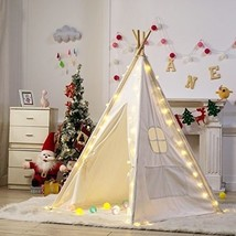 Kids Teepee 100% Natural Cotton Canvas Wooden Poles Teepee Tent for Kids... - $74.93