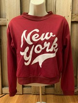 New York WOMENS Sweatshirt Crop Top Red White Long Sleeve Boutique Small S - $17.77