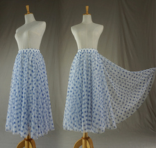 Polka Dot Tulle Midi Skirt High Waisted A-line Tulle Tutu Skirt Blue Dotted image 2