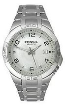 Mens Fossil Blue Quartz Watch AM-4110 Stainless Steel Band Analog Dial Watch - $65.00