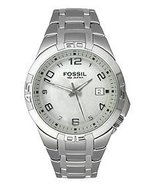 Mens Fossil Blue Quartz Watch AM-4110 Stainless Steel Band Analog Dial W... - $65.00