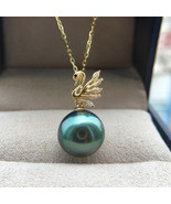 Latest design Tahitian pearl charm pendant with 18K gold women - $283.98