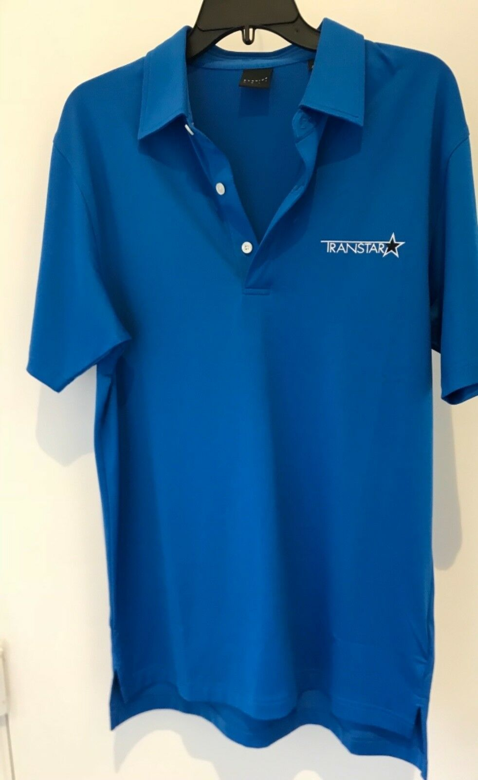 Primary image for Dunning Golf Performance mens size S  3 Button polo.  Blue Transport. NWT