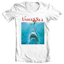 Under The Sea Shark T Shirt funny retro horror movie parody graphic tee shirt image 1