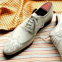 Handmade Men's White Fashion Wing Tip Brogues Style Dress/Formal Oxford Leather image 2