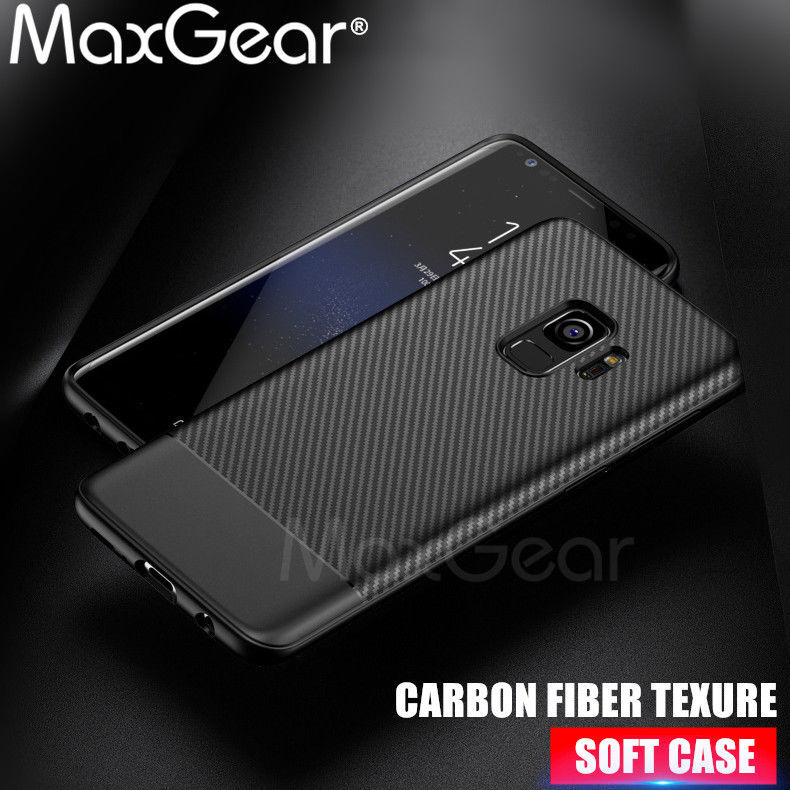 Primary image for MaxGear® Samsung Galaxy S8 S9 Plus Note 8 Silicone Cover Soft TPU Carbon Fiber