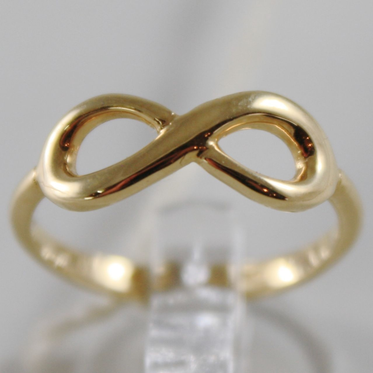SOLID 18K YELLOW GOLD BAND INFINITE RING LUMINOUS ENDLESS INFINITY MADE IN ITALY