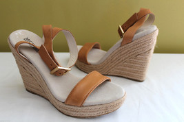NEW! MICHAEL Michael Kors Tan Leather Strappy Wedge Heels Sandals 9.5 M ... - $118.00