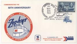 1984 Zephyr Days 50th Anniversary 1st Diesel Streamliner RR Cover! USPS ... - $6.79