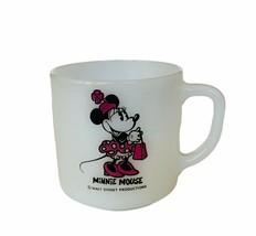 Walt Disney Mug Cup Milk Glass Vtg Mickey Minnie Mouse Fire King collect... - $23.17
