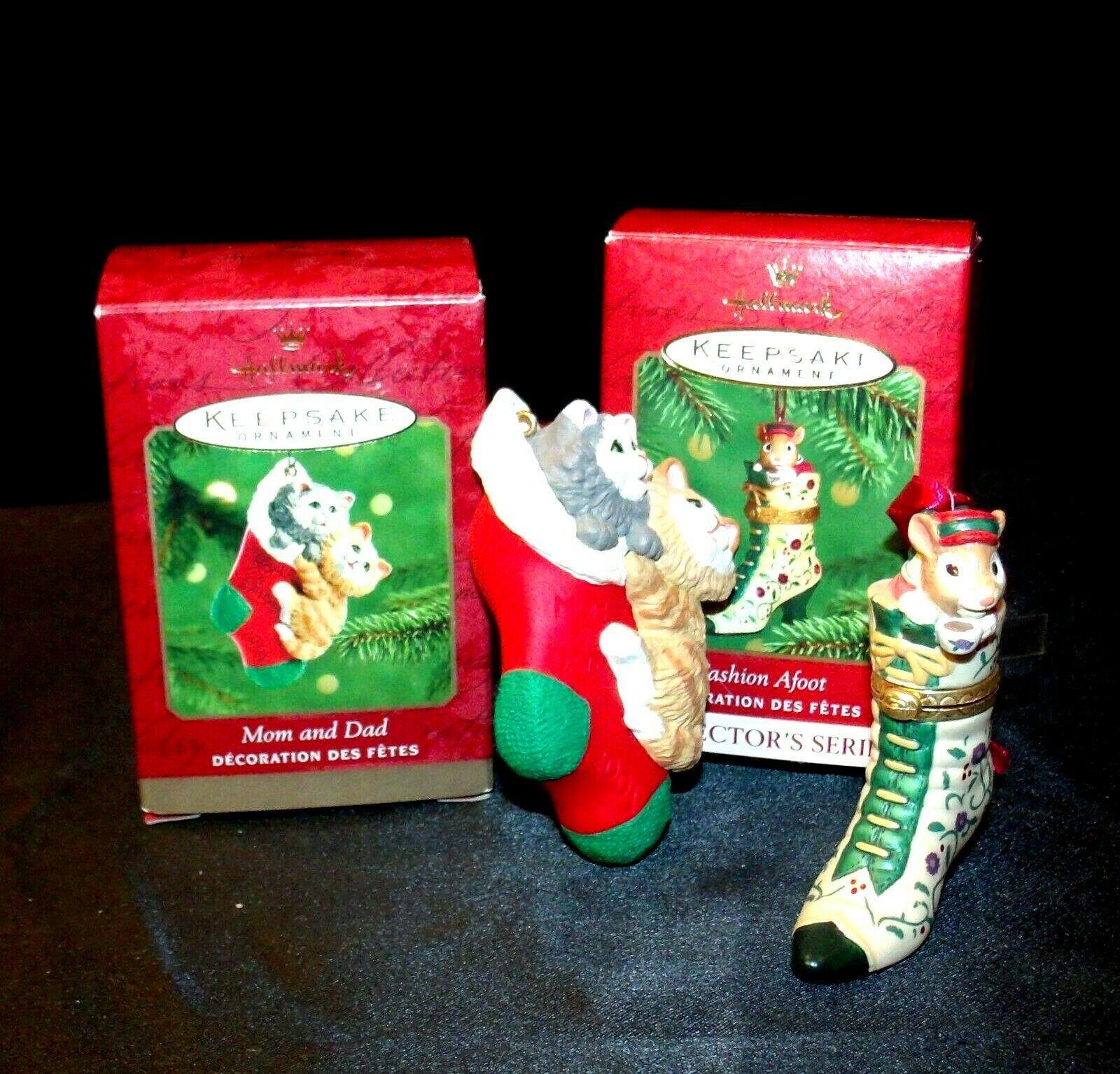 Hallmark Keepsake Ornaments Fashion Afoot & Mom & Dad Stocking AA-191792E Colle