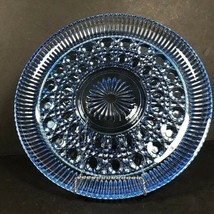 Vintage Blue glass round platter, button cane pressed glass, something b... - $70.04