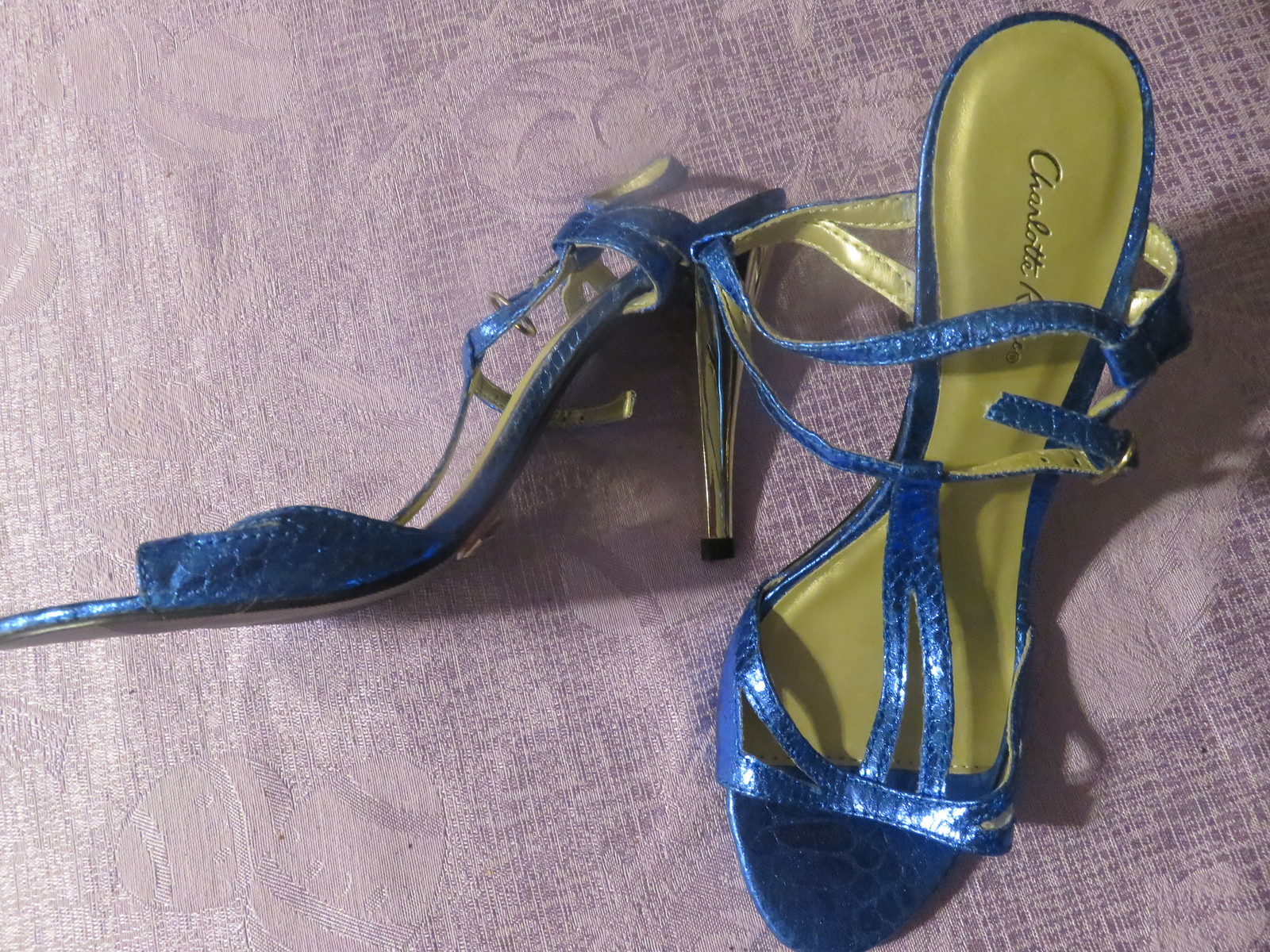 bebf81572b4 CHARLOTTE RUSSE HIGH HEELS SHOES METALLIC BLUE SIZE 6 GREAT FOR PROM NEW