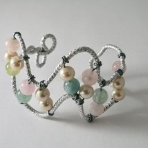 Bracelet Aluminum with Aquamarine Multi and Pearls image 1