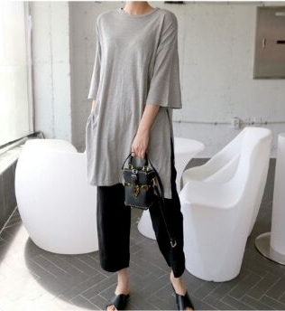 [Shoeming] Linen Long Dress T teuim T & Tops Korean style