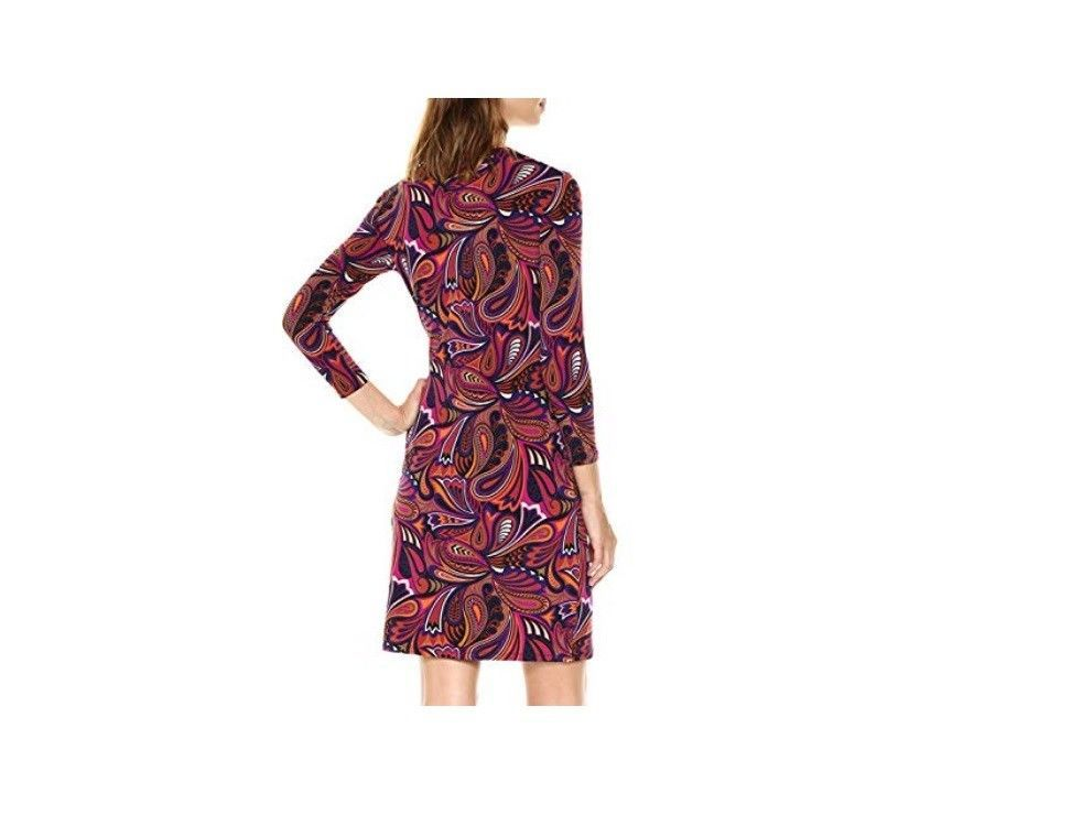 $99 Anne Klein Faux-Wrap Animal-Print Dress Light African Violet Combo 12