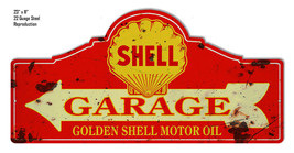 Reproduction Distressed Shell Garage Laser Cut Out Metal Sign 11x23 - $49.50