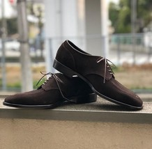Handmade Men's Chocolate Brown Lace Up Suede Dress/Formal Oxford Shoes image 1