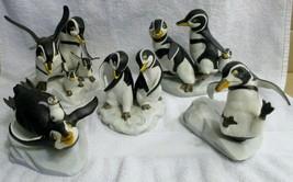 Set of Five Franklin Mint 1980s Penguin Figurines by H. Emblem - $198.00