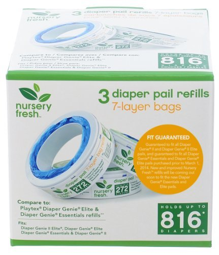 Nursery Fresh Refill for Diaper Genie 3 Pack, 816 Count