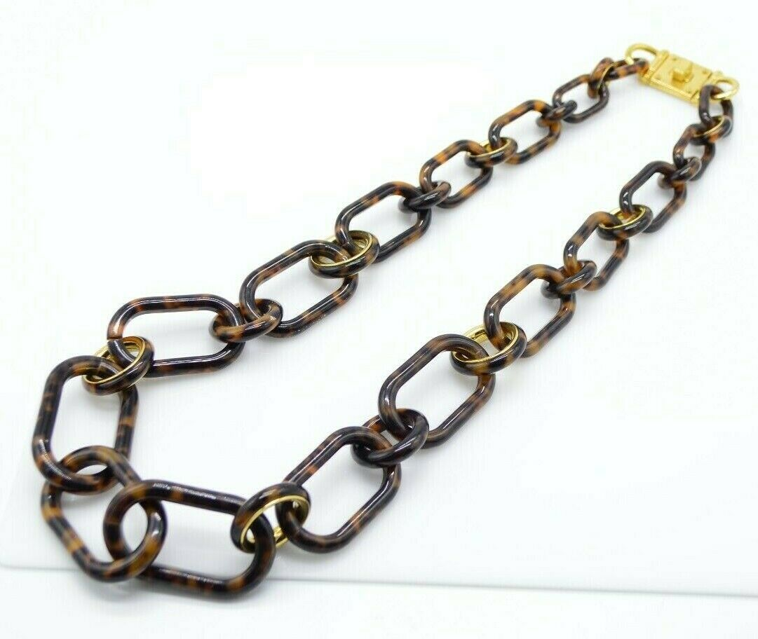 Primary image for MICHAEL KORS Faux Tortoise Resin Graduated Chain Link Necklace