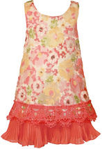 Bonnie Jean Little Girl 4-6X Coral Floral Organza A-line Social Party Dress