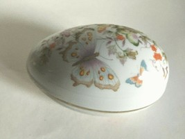 Vintage Ceramic Trinket Box Egg Butterfly and Flowers Made in Japan 5.5X... - $14.80