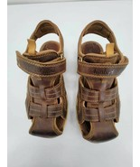 Timberland Boys Fisherman Sandals Brown Leather Hook & Loop Straps Casual 5 - $22.09