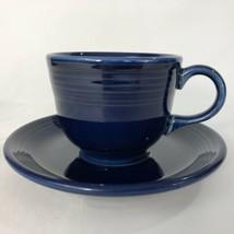 Fiesta Cobalt Blue Cup And Saucer Set Contemporary Fiestaware Coffee Tea - $9.26