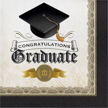 Black Gold Cap and Gown 16 ct Luncheon Napkins Graduation Diploma - £2.88 GBP