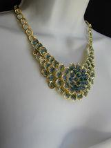 Nuevo Mujer Grande Dorado Flor Tendencia Jewelry Azul Diamantes Collar image 11
