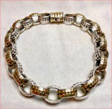 """Heavy 19g John Hardy 14K Gold Dot Sterling Silver Oval Link Bracelet 8"""" - $1,178.54"""