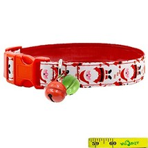 Festive Christmas Holiday Dog Collars with 2 Bells for Medium to Large D... - $13.09