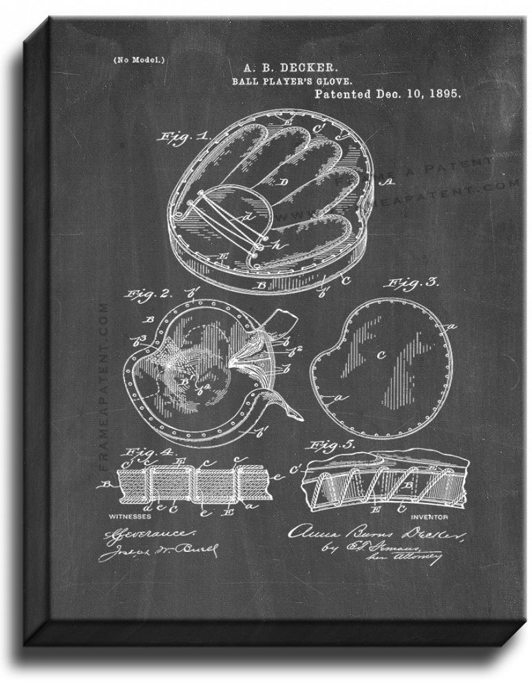 Primary image for BaseBall Player's Glove Patent Print Chalkboard on Canvas