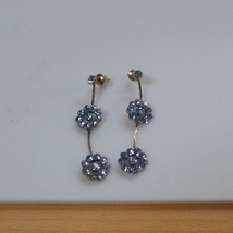 Gold-tone Blue Crystal Rhinestone Flower Dangle Earrings  - $28.11
